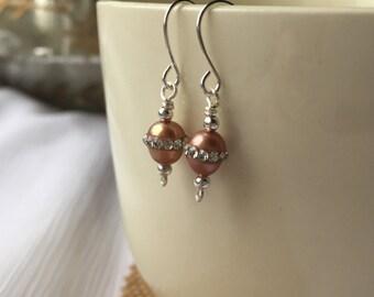 Rosy Crystal Freshwater Pearl Earrings | Freshwater Pearls | Rosy Pearl Earrings with Crystals | Sparkly Earrings | Small Dangling Earrings