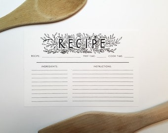 Recipe Cards // Set of 10 // Calligraphy Illustrated // Kitchen Recipe Cards // 4 x 6