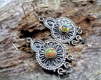 925 sterling silver & genuine, natural, high quality, colorful Ethiopian Opal intricately detailed dangle earrings. Unique! *001*