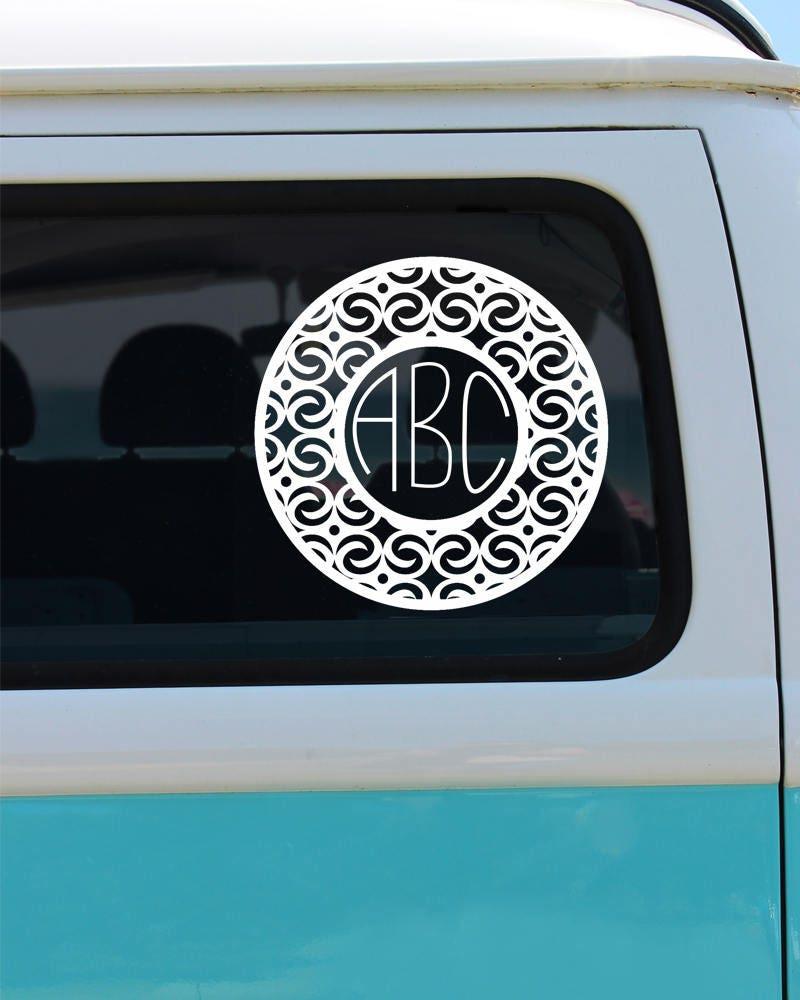 Circle Monogram Vinyl Window Decal Car Decal Monogram Car - Circle monogram car decal