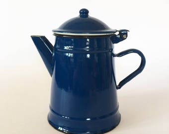 Enamel Coffee Pot, TeaPot, French Coffee Maker, Enamelware, Enamel Vase, Blue Enamel,  Blue Decor, French Vintage, Cafetière émaillée, Gift