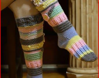 Handmade crocheted knee high socks