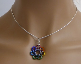 Flower Rainbow necklace pendant, Chainmaille