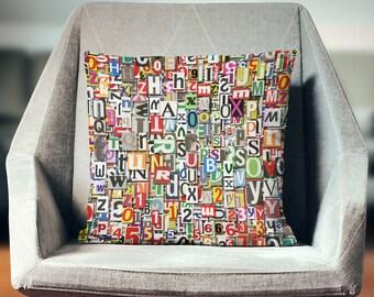 Alphabet Pillow | Letter Pillow | Letter Pillow Cover | Alphabet Cushion | ABC Pillow | Magazine Pillow | Newspaper Pillow