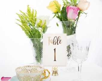 Ivory and Rose Gold Foil Table Numbers Handmade Wedding Style #0102