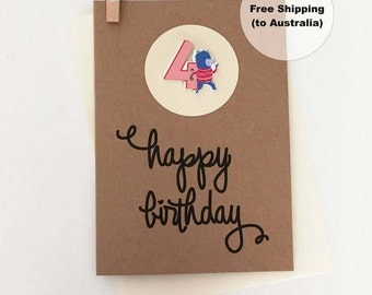 4th Birthday Card – 4th Happy Birthday Card – Age 4 Happy Birthday Card – Fourth Happy Birthday Card – Happy 4th Birthday Card