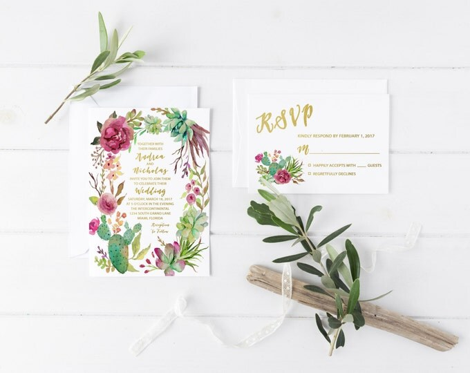 Cactus Wedding Invitation, Succulent Wedding Invitation, Marsala Wedding Invitation, Printable Wedding Invite, Boho Cactus Invitation