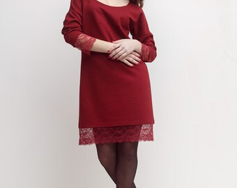 Women's Dress Dress for pregnancy Bordo Dress Knitted Dress Lace  Oversized  Dress Three Quarter Sleeves Jersey