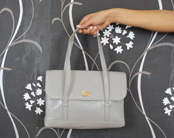 Vintage 1970's Grey Handbag  70's Women's Handbag BUCCI Handbag Vintage Bags & Purses Retro Bag