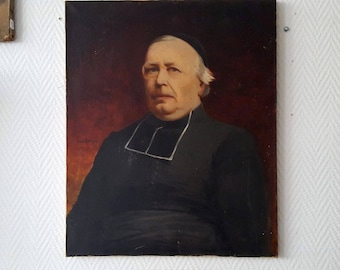 Oil on canvas Portrait of the family priest signed circa 1900 20770