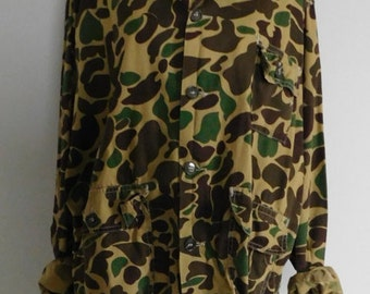 Vintage Camo Shirt Jacket, Nesco Green & Brown Camouflage Shirt, Military Shirt
