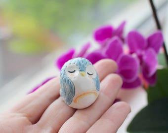 Owl with Rainbow Totem Handmade Earthenware Clay Miniature Good Luck Charm Cake Topper One Of A Kind Keepsake  Boho Gift