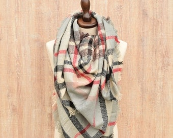 Plaid Blanket Scarf Gift for Her Winter Scarf Chunky Scarf Wool Blanket Scarf Plaid Scarf Tartan Scarf Plaid Scarf Oversized Winter Scarf