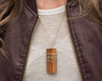 Gold Wrap Zebrawood Pendant