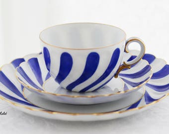 RS Tillowitz Silesia, breakfastset, goldcolor, bright blue decorations, white, swirled and scalloped porcelain base, c1930s