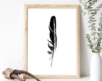 "Print, Wall Art, Modern, Wall Decor, Feather, Black and White, Home Decor, Minimalist Art, Monochrome, Feather Prints, Feather Art, 9"" x 12"""