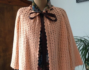 Vintage crochet jacket cape