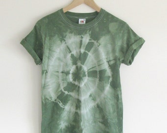 Vintage 1990s green tie dye t shirt grunge tee vintage retro size small seapunk unisex 90s fruit of the loom roll sleeve punk mens womens