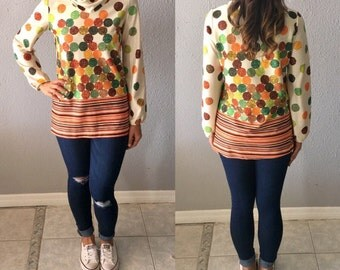 1970's Polka Dot and Striped Vintage Cowl Neck Psychedelic Print Blouse