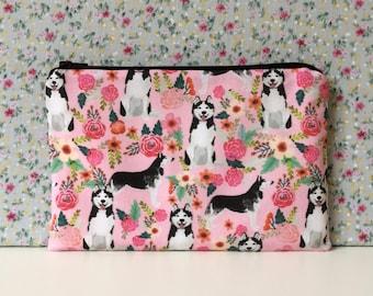 Husky Print Make Up Bag