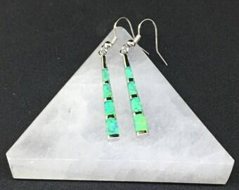 """Green Lab Fire Opal Earrings 2-1/8"""""""