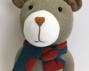 A Handmade Cute Baby Bear Doll. Animal handmade doll. Textile doll, Home Decoration doll, Good Gift For Cool Friends.