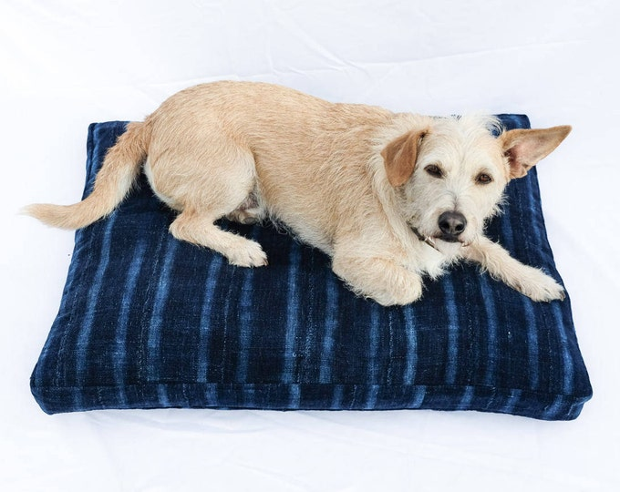 Indigo Striped Mudcloth Dog Bed // Medium // bohemian pet bed shibori pillow