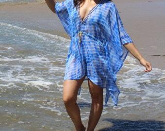 Blue and white, tie dye,beach coverup, beach cover up, caftan, handmade,resort wear, beach wear,swimsuit coverup, Beach coverups, tunic, top