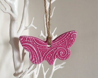 Pink Butterfly Hanging Decoration - pink butterfly, hanging butterfly, butterfly gifts, clay decoration, gifts for her, mothers day gift