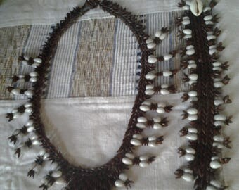 Retro Homemade Crocheted Necklace and Bracelet Set - 60s - 40% off