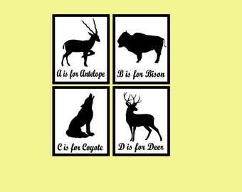Woodland Animal Nursery Art | Animal Nursery Prints | Woodland Nursery Decor | Modern Nursery Decor | Nature Nursery | Prints | Wild Animals