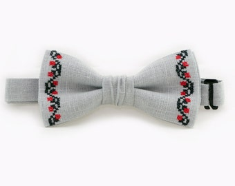 Boyfriend Gift Gray Bow Tie Christmas Bow Tie Father Son Matching Bow Ties Ukrainian Embroidery