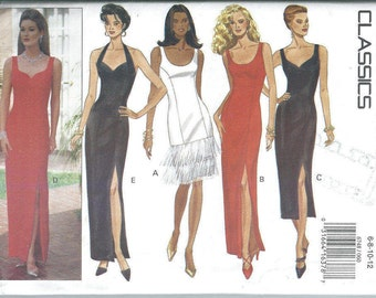 Butterick Sewing Pattern Vintage 6748 Misses Evening Dress Sizes 6,8,10,12 Bust 30.5 to 34 Fitted Front Princess Seams  Unused Uncut 1993