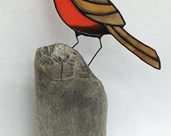 Robin Stained Glass - Driftwood Bird - Sculpture