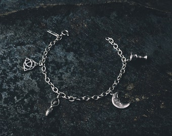 Water Charm Bracelet (handmade, sterling silver 925, witch, witchcraft, wicca, magic, moon, triquetra, mystic, spiritual, psychic)