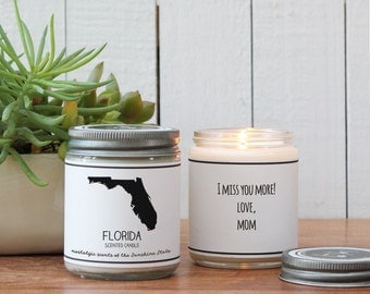 Florida Scented Candle - Homesick Gift | State Scented Candle | Florida Gift | College Student Gift | State Candles | I Love Florida