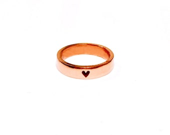 14K Gold Heart Band Ring, 4 hearts band ring, solid gold ring, rose gold band ring, engagement ring, gold band ring, heart ring