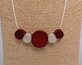 Handmade felt pendant necklace circles spirals burgundy red white
