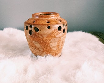Vintage Earth-Tone Pottery Candle Holder / Plant Holder