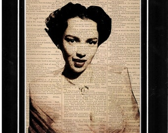 Dorothy Dandrige singing in pink top sletched vintage dictionary art