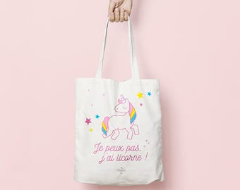 "Tote bag ""I can't, I'm a Unicorn"" - cotton tote bag, white shopping bag with Unicorn print, gift"