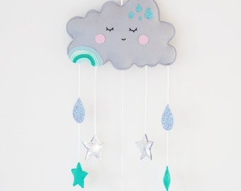 Cloud Baby Mobile, Cloud and Stars Nursery Wall Art, Grey Nursery Decor, Gender Neutral Baby, Unisex Nursery Decor, Baby Room Wall Hanging