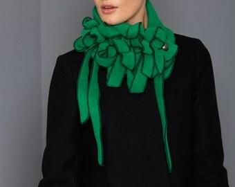 Minstral - Green with Black Stitching Collar Scarf, Winter warm, Rew Scarf, Unusual Ladies Scarf