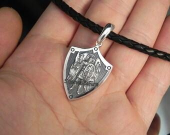 St.Michael Protection Pendant Archangel Michael Protect Me Saint Patron Silver Shield Prayer Medal Sterling Silver 925