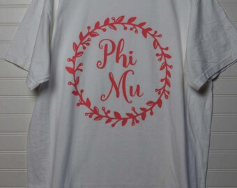 Phi Mu 102 Wreath with highlights Comfort Color TShirt, Short Sleeve or Long Sleeve with Colored Letters
