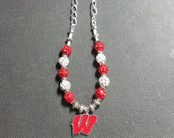 Red, White Pave Disco Balls Badgers Necklace