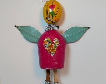 Maraca Girl wall decor, Canteen angel, pink fairy, repurposed art, junk art, musical instrument, paintbrushes, recycle, wall hanging,