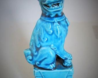 Vintage Porcelain Chinese Foo Dog /Temple Lion Turquoise Blue Glazed, FIne Detail