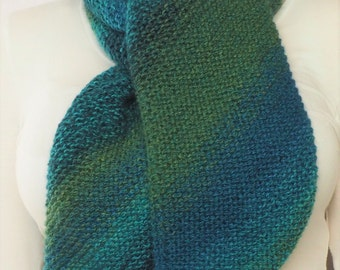 Hand Knitted Chunky Scarf - Blue - Green - Turquoise