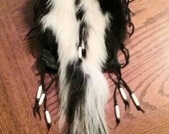 skunk fur/tail- deer leather bag